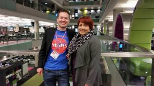 Lucinda Offer and Rob Adlard (new chair of the Manchester chapter) at the BBC Media City